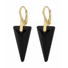 Earrings crystal black spike - gold plated silver - 0905