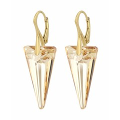 Earrings crystal spike - gold plated silver - 0907