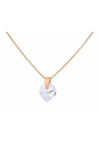 Necklace transparent Swarovski crystal heart - rose gold plated silver - ARLIZI 0913 - Eva