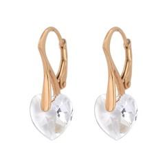 Earrings Swarovski crystal heart - silver rose gold plated - 0914
