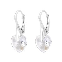Earrings Swarovski crystal heart - silver - 0916
