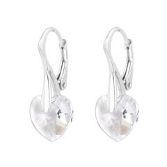 Oorbellen Swarovski kristal hartje - zilver - 0916