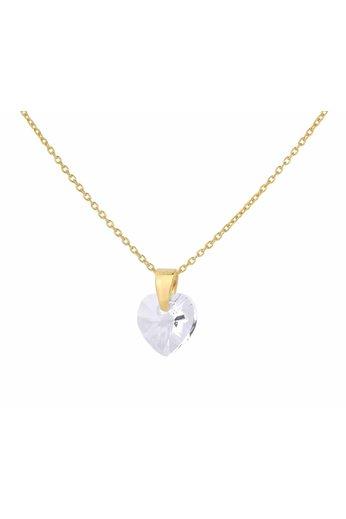 Halskette transparent Swarovski Kristall Herz - 24K vergoldet 925 Silber - ARLIZI 0917 - Eva