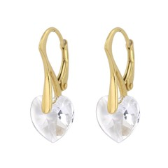 Earrings Swarovski crystal heart - silver gold plated - 0918
