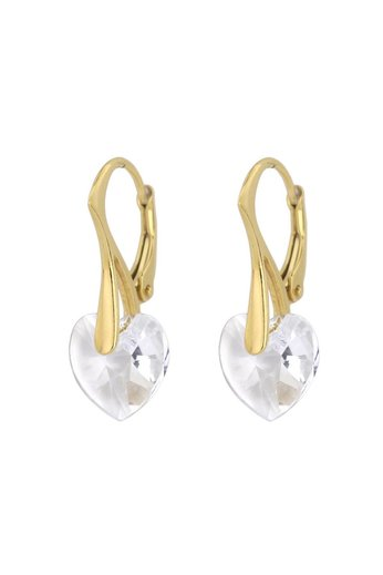 Ohrringe transparent Swarovski Kristall Herz - 24K vergoldet 925 Silber - ARLIZI 0918 - Eva