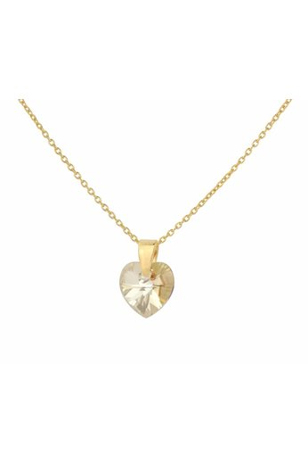 Necklace gold Swarovski crystal heart - 24ct gold plated 925 silver- ARLIZI 0921 - Eva