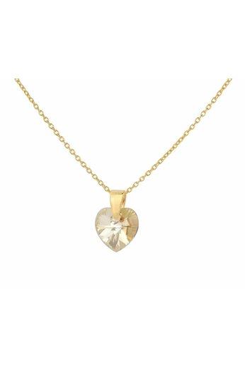 Necklace gold Swarovski crystal heart - silver gold plated - ARLIZI 0921 - Eva