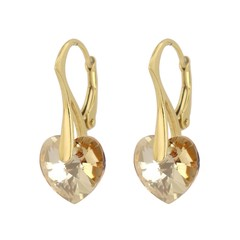 Earrings gold crystal heart - gold plated silver - 0922