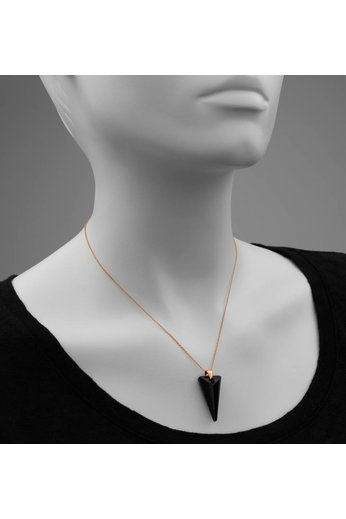 Necklace Swarovski black crystal spike pendant - 18ct rose gold plated 925 silver - ARLIZI 0896 - Daria