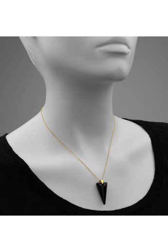 Necklace black Swarovski crystal spike pendant - 24ct gold plated 925 silver - ARLIZI 0904 - Daria