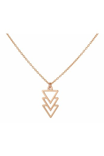 Necklace inverted triangle pendant - 18ct rose gold plated 925 silver - ARLIZI 0931 - Kendal