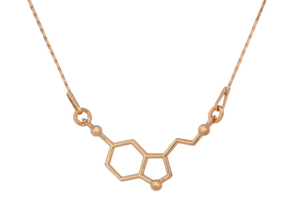 Serotonin Molecule Pendant with Necklace KMwkLanH