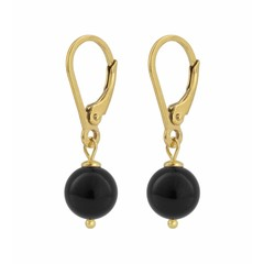 Earrings black pearl - gold plated silver - 0927