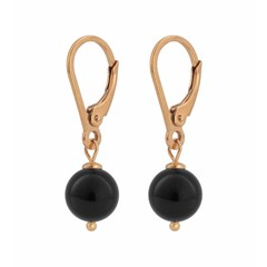 Earrings black pearl - rose gold plated - 0929