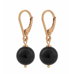 Earrings black pearl 10mm - silver rose gold plated - 0930