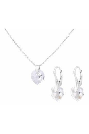 Sieraden set sterling zilver - Swarovski kristal hartje - ARLIZI 0935 - Eva