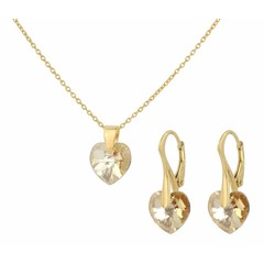 Jewelry set silver gold plated - crystal heart - 0936