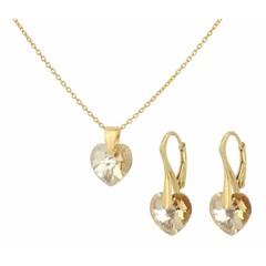 Sieraden set zilver verguld - kristal hartje - 0936