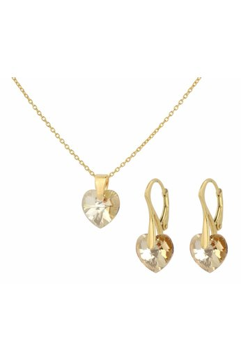 Jewelry set 24ct gold plated silver - necklace earrings crystal heart - ARLIZI 0936 - Eva