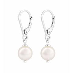 Oorbellen witte parel - zilver - 0940