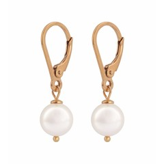 Earrings white pearl - rose gold plated- 0944