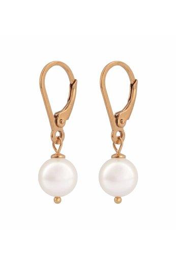 Ohrringe weiße Perle - 18K rosé vergoldet Silber - ARLIZI 0944 - Noa