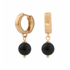 Earrings black pearl - rose gold hoops - 0816