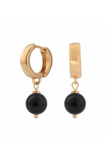 Ohrringe schwarze Perle - 18K rosé vergoldet 925 Silber Creolen - ARLIZI 0816 - Natalia