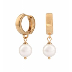 Earrings white pearl - silver rose gold plated hoops - 0952