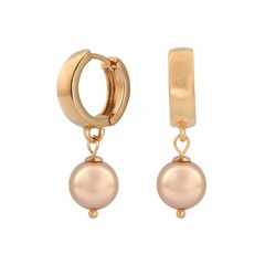 Earrings rose gold pearl - rose gold hoops - 0815