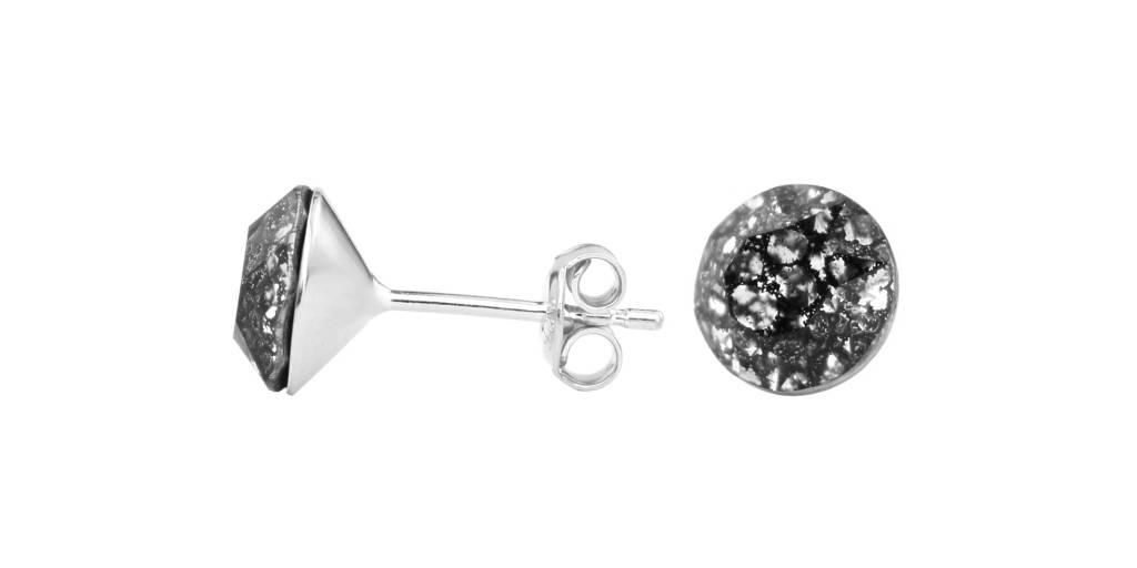 Earrings Black Swarovski Crystal Ear Studs 8mm Sterling Silver Arlizi 1010 Lucy