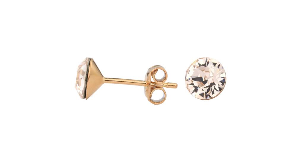 Earrings Champagne Swarovski Crystal Ear Studs Rose Gold Plated Silver Arlizi 1025 Lucy