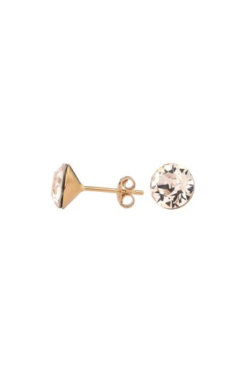 Ohrringe champagnefarbig Swarovski Kristall Ohrstecker 8mm - Sterling Silber rosé vergoldet - ARLIZI 1026 - Lucy