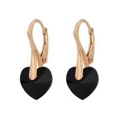 Earrings 18ct rose gold black crystal heart - 1034