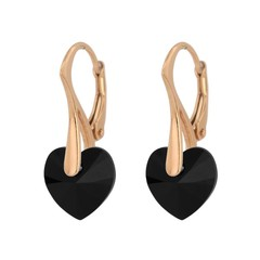 Earrings black crystal heart - silver rose gold plated - 1034