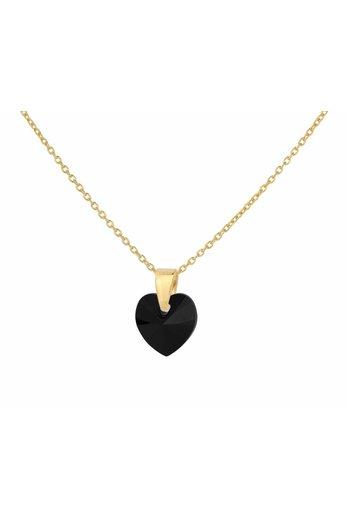 Ketting hartje zwart Swarovski kristal - verguld zilver - ARLIZI 1037 - Eva