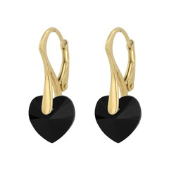 Earrings black crystal heart - silver gold plated - 1038