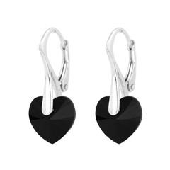 Earrings black crystal heart - silver - 1036