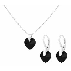 Jewelry set black crystal heart - silver - 1039