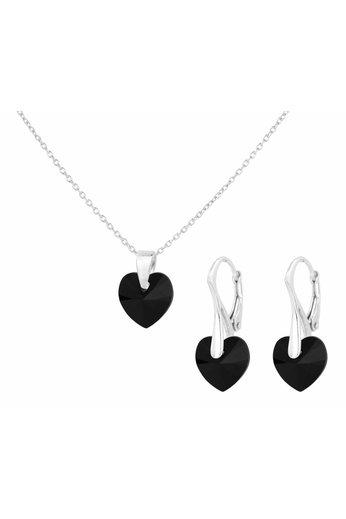 Schmuck Set 925 Silber schwarz Swarovski Kristall Herz - ARLIZI 1039 - Eva