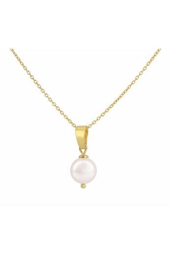 Necklace white pearl pendant - gold plated silver - ARLIZI 1043 - Natalia