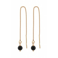 Earrings black pearl - silver rose gold plated - 1055