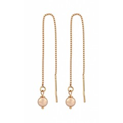 Earrings ear thread rose gold pearl - 1056