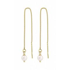 Durchzieher Ohrringe weiße Perle - 1061