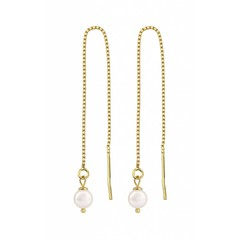 Earrings white pearl - silver gold plated - 1061