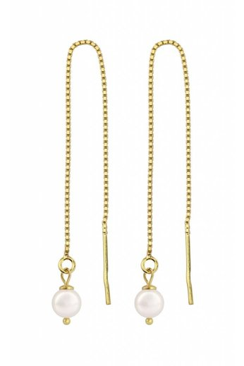 Earrings white pearl ear threads - gold plated silver - ARLIZI 1061 - Emma