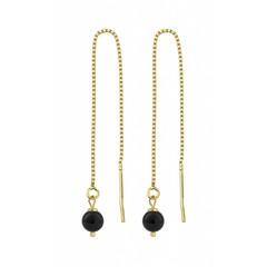 Durchzieher Ohrringe schwarze Perle - 1062