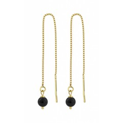 Earrings ear thread black pearl - 1062