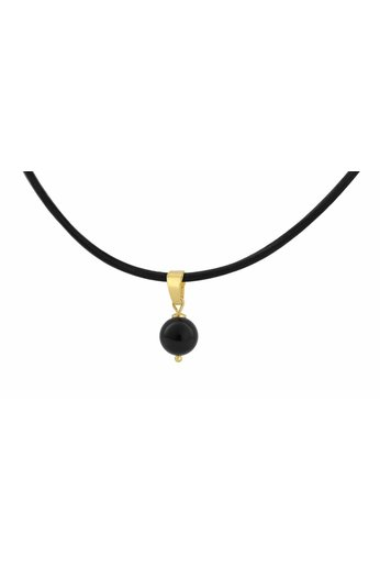 Choker necklace black leather - black pearl size M - gold plated sterling silver - ARLIZI 1081 - Eva