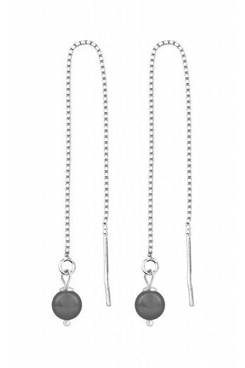 Durchzieher Ohrringe graue Perle - 925 Silber - ARLIZI 1050 - Emma